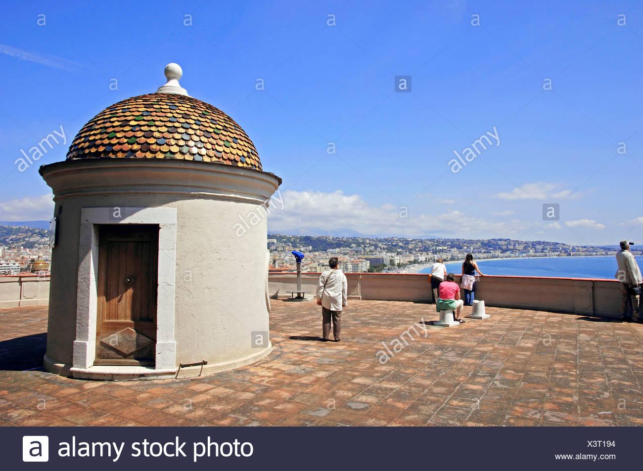 Sentry-box, Tower la Tour Bellanda, Nice, Alpes-Maritimes, Provence-Alpes-Cote d'Azur, Southern France, France, Europe Stock Photo
