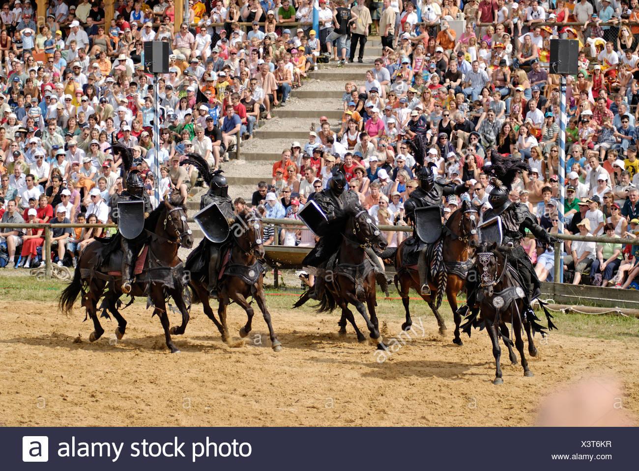 Kaltenberger Ritterspiele tournament of knights at Kaltenberg castle Upper Bavaria Germany black bad knight Stock Photo