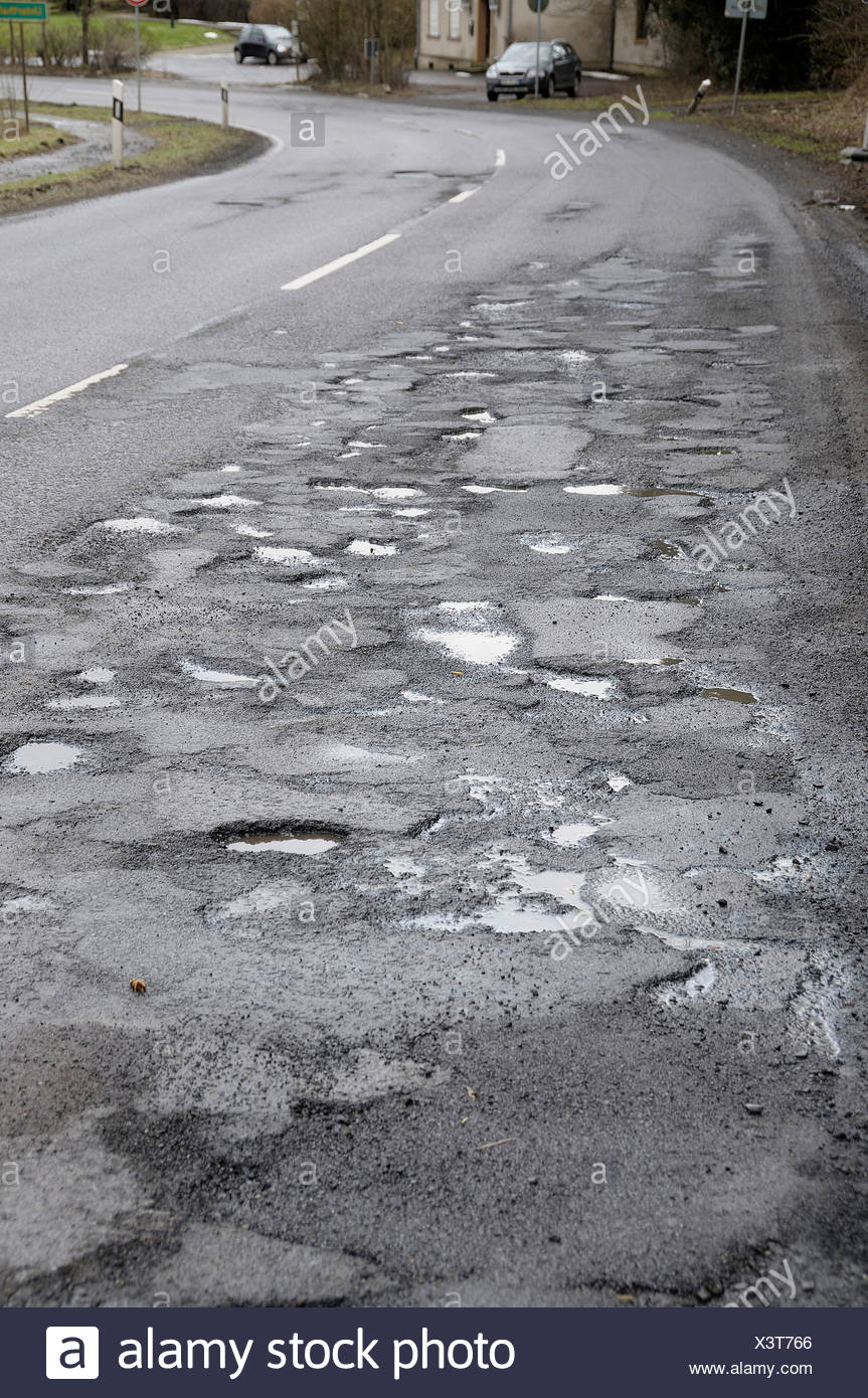 Road damage on the L286, North Rhine-Westphalia, Germany, Europe Stock Photo