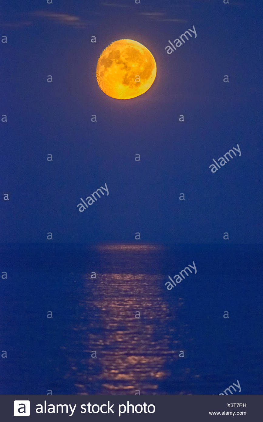 Moon over the sea, night view, Rødvig Stevns, Region Sjælland, Denmark Stock Photo