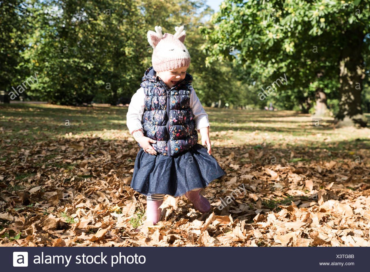 Female toddler toddling amongst autumn leaves in park - Stock Image