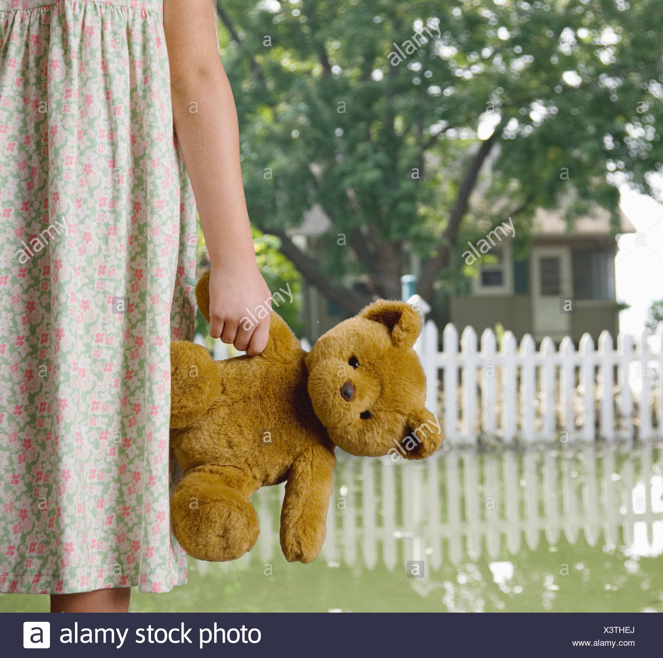 USA, Illinois, Metamora, Girl (8-9) holding teddy in flooded yard - Stock Image