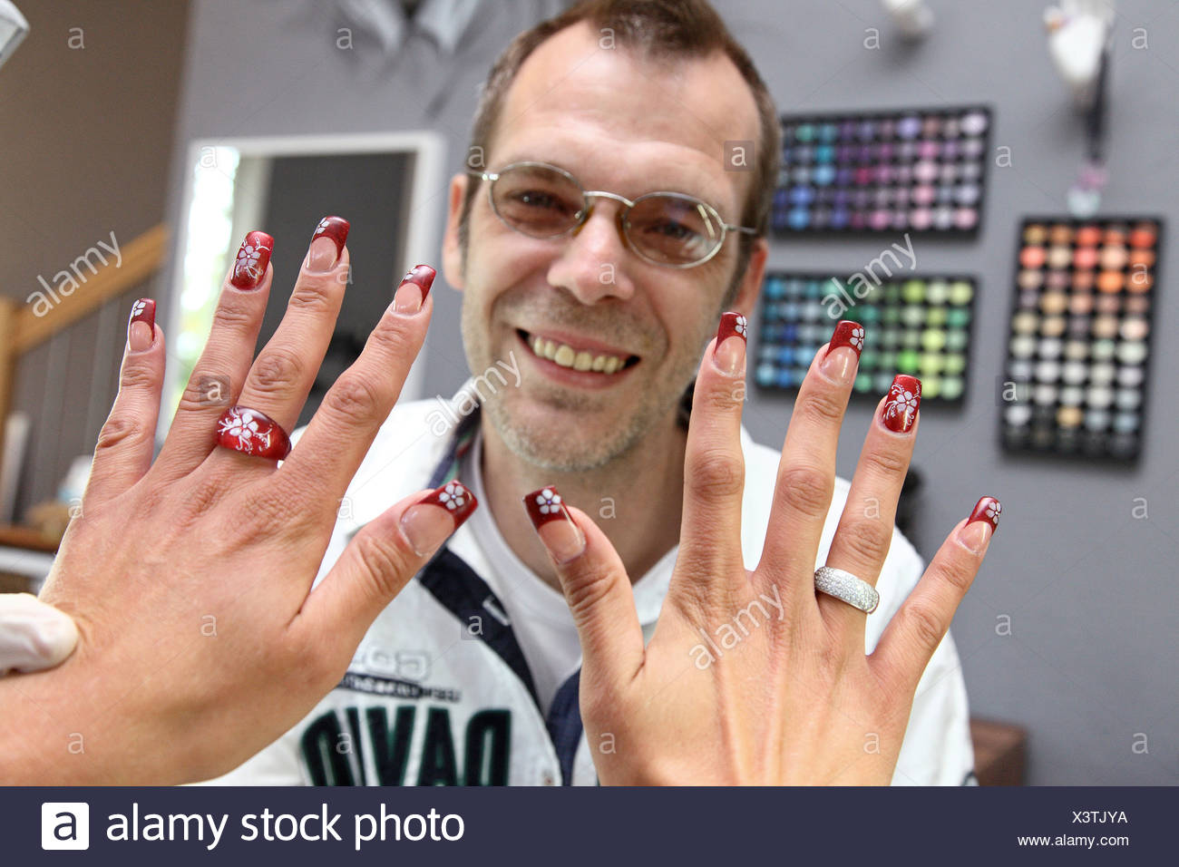Berlin, Germany, a woman at the nail technician Stock Photo ...