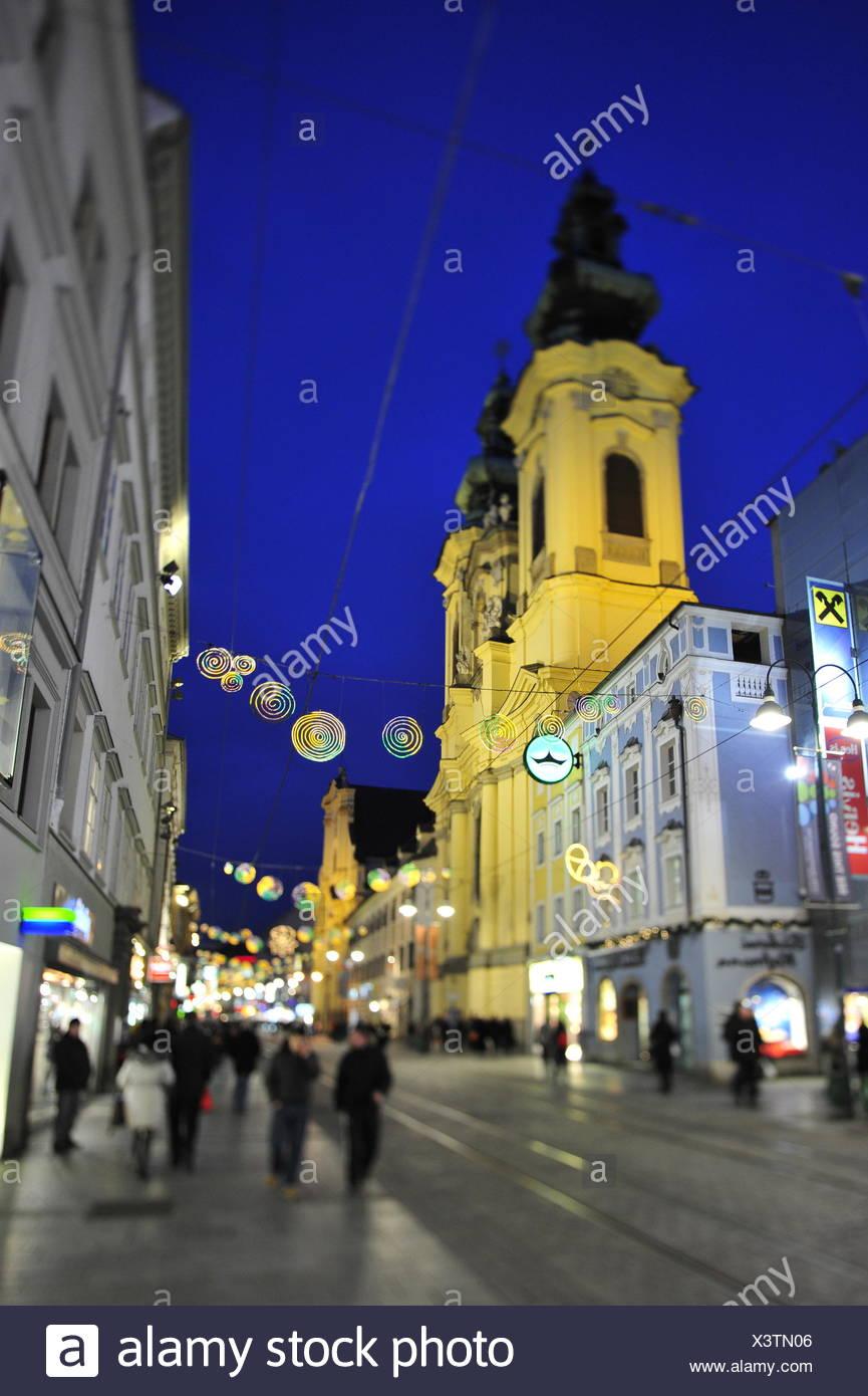 christmas illumination, landstrasse linz, upper austria, austria - Stock Image