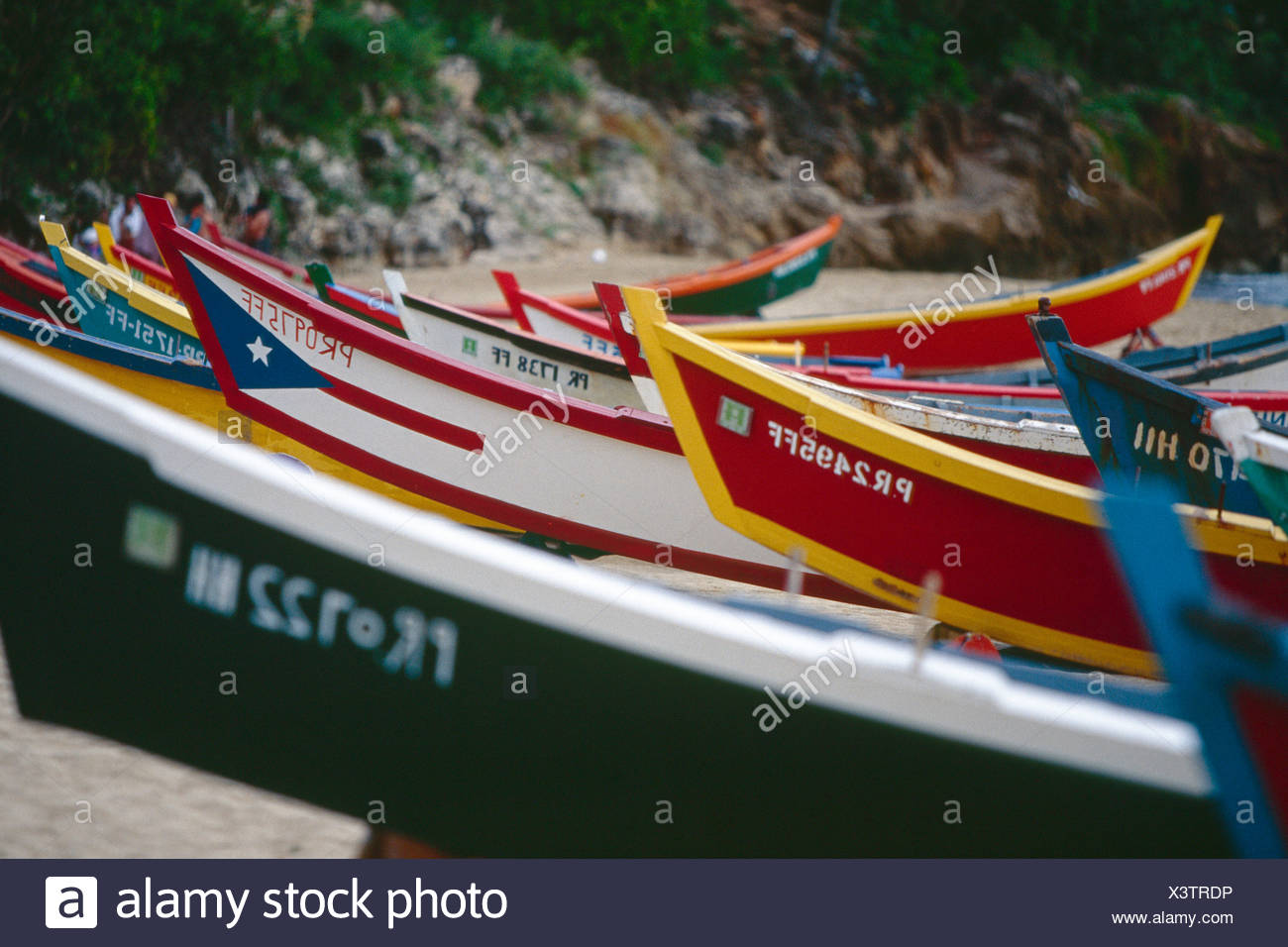 Puerto Rico, Aquadilla, Crashboat Beach, view of colorful fishing boats - Stock Image