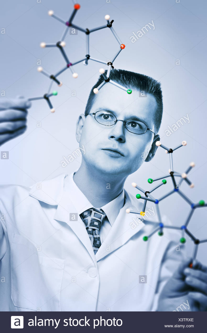 blue research chemist - Stock Image
