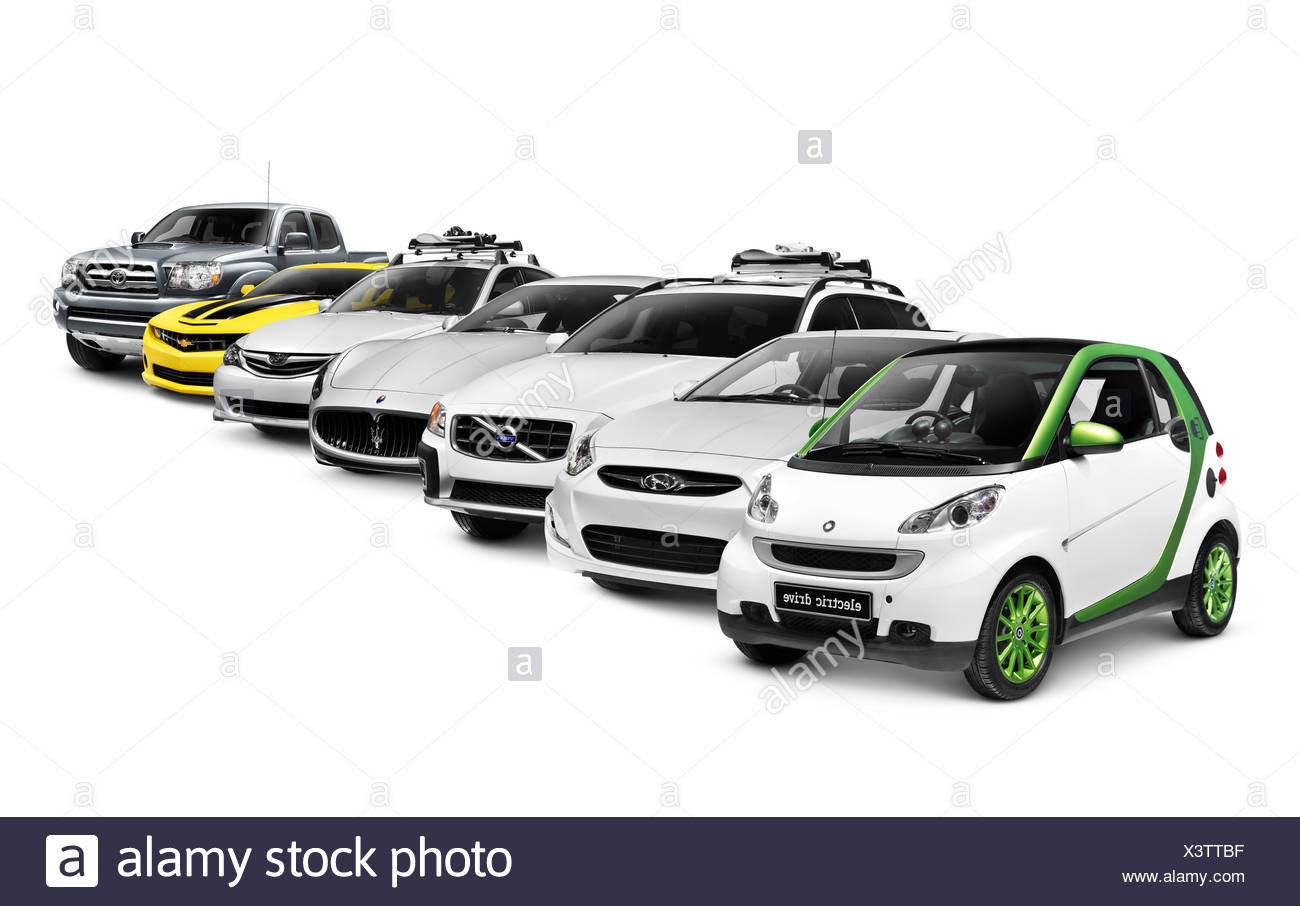 Row of different cars electric, compact, SUV, luxury, sports car and a truck isolated on white background - Stock Image