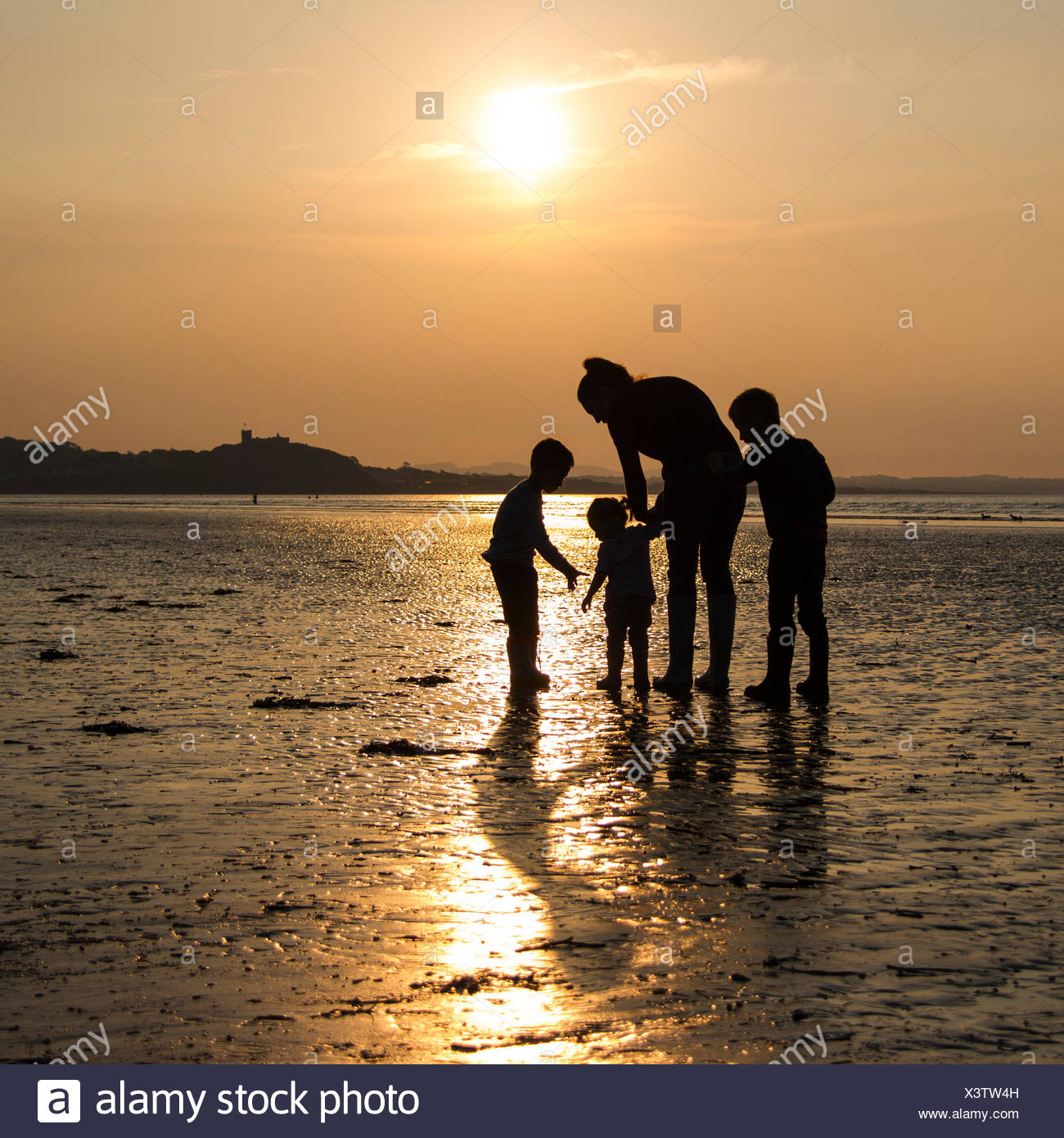 Family By Beach - Stock Image