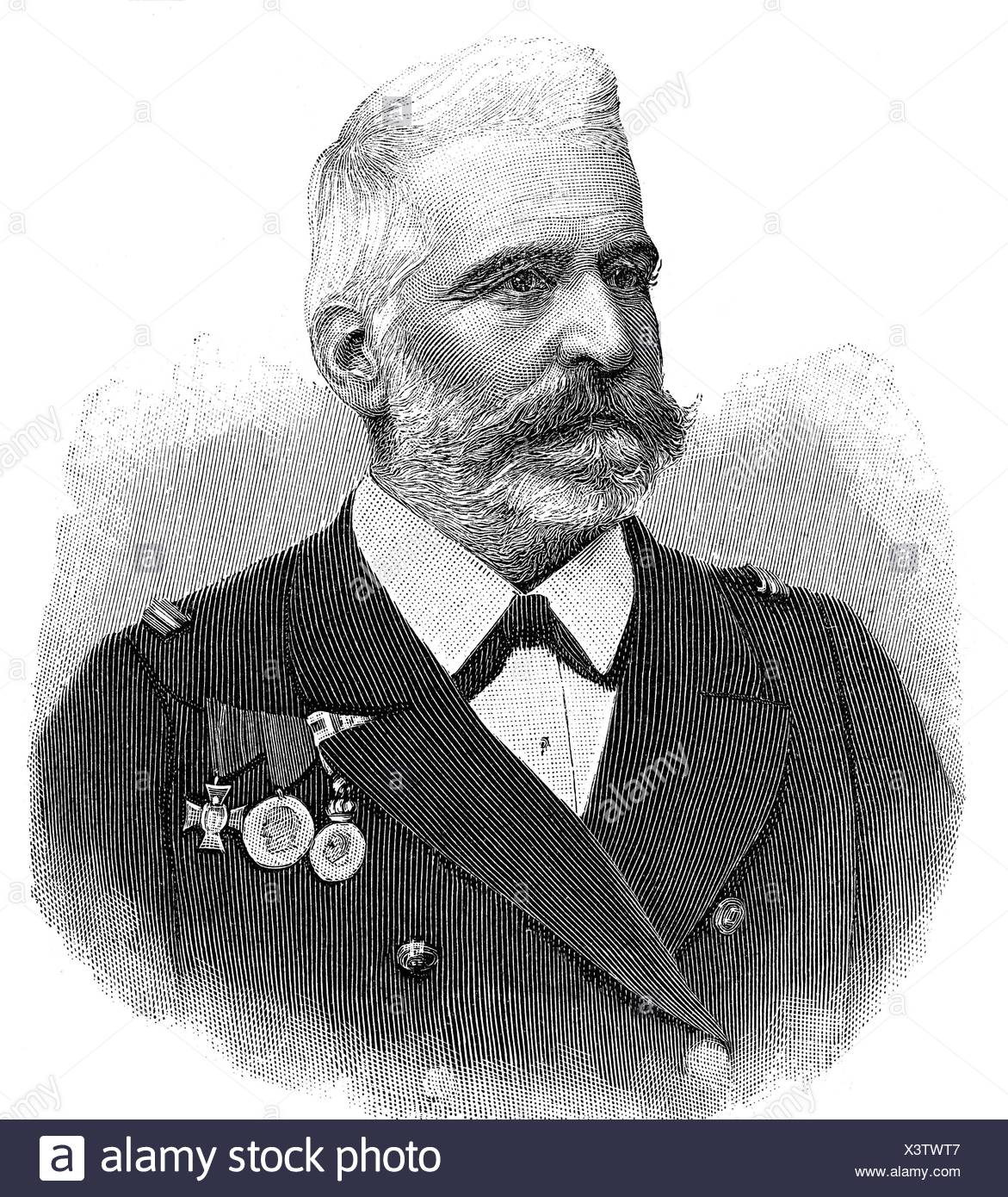 Montecuccoli, Rudolf count of, 22.2.1843 - 16.5.1922, Austro-Hungarian admiral, portrait, wood engraving, 1897, Additional-Rights-Clearances-NA - Stock Image