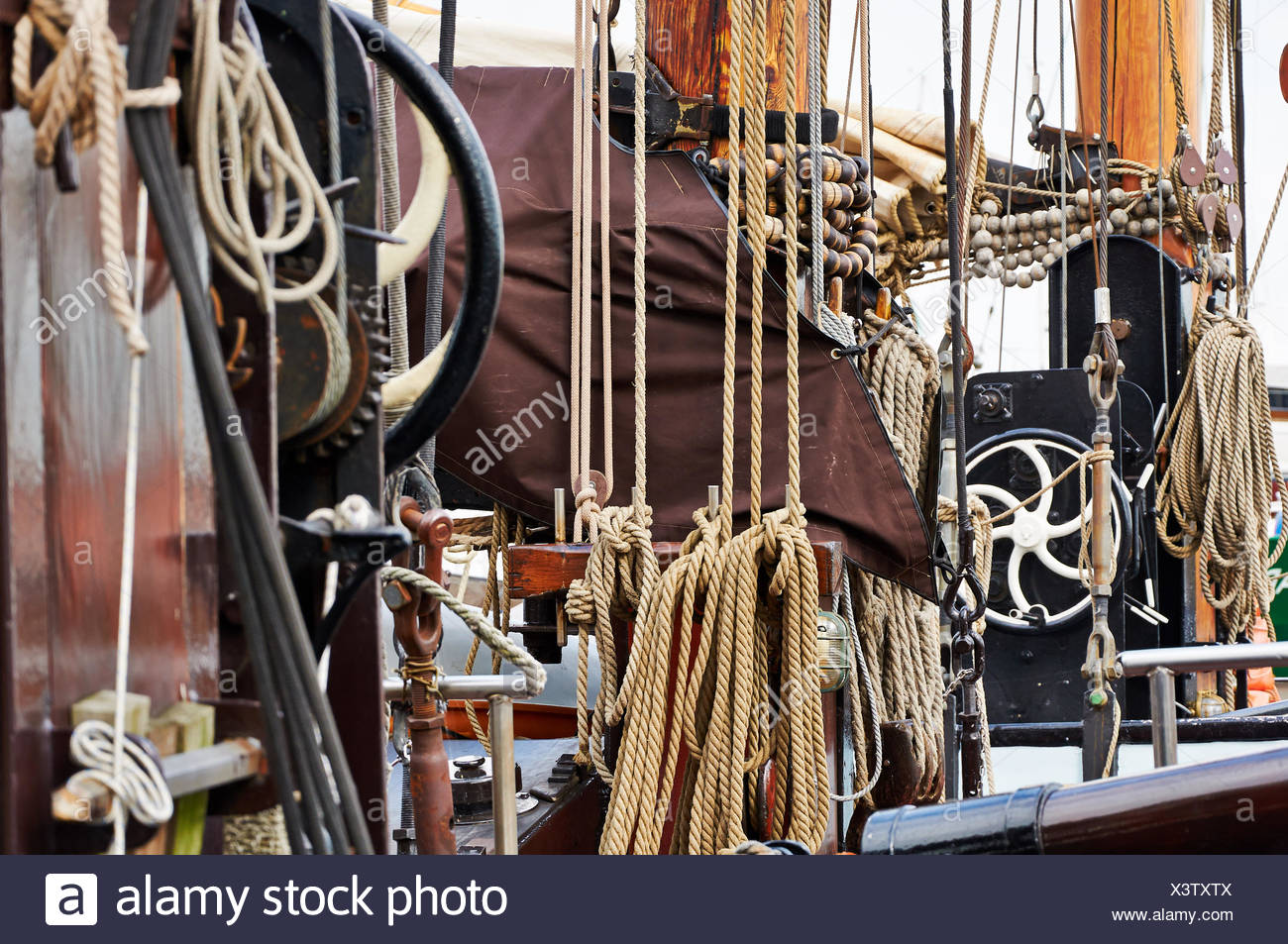 Sailing Boat at Monnickendam Haven, North-Holland, - Stock Image