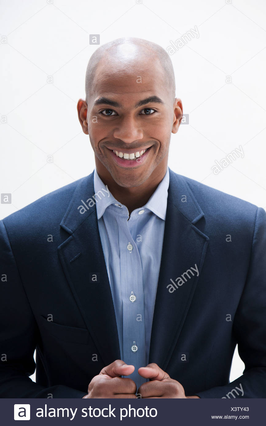 Portrait of African American man, studio shot - Stock Image