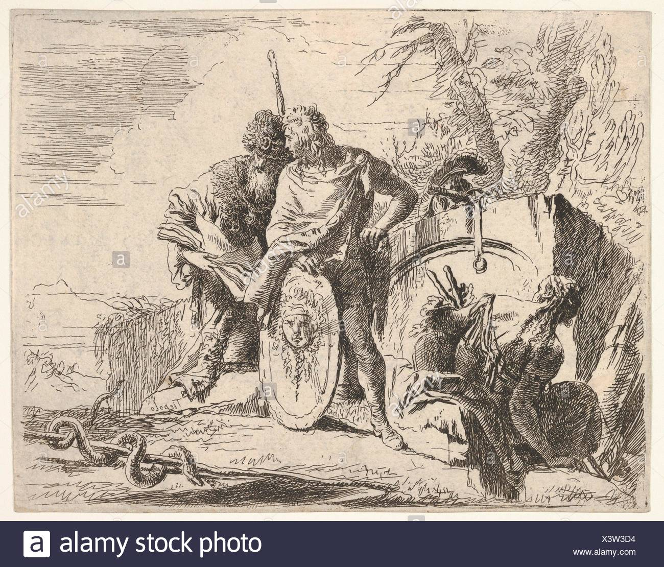 Three figures and a snake coiled around a staff, surrounded by a landscape, the central figure rests his left hand on a shield and leans toward a - Stock Image