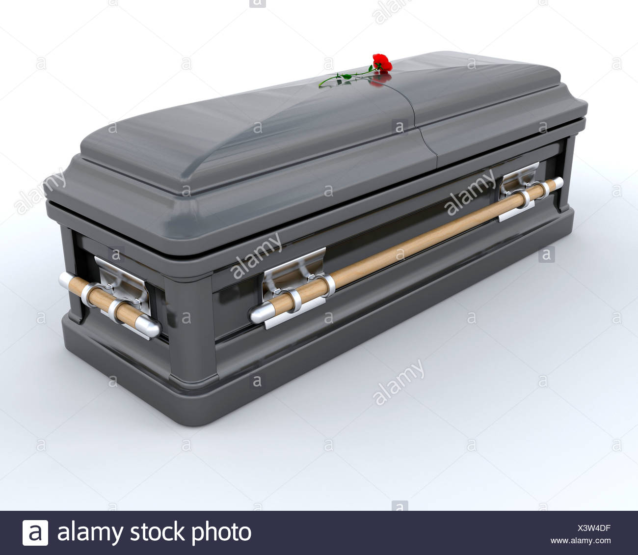 3D render of an ornate coffin - Stock Image