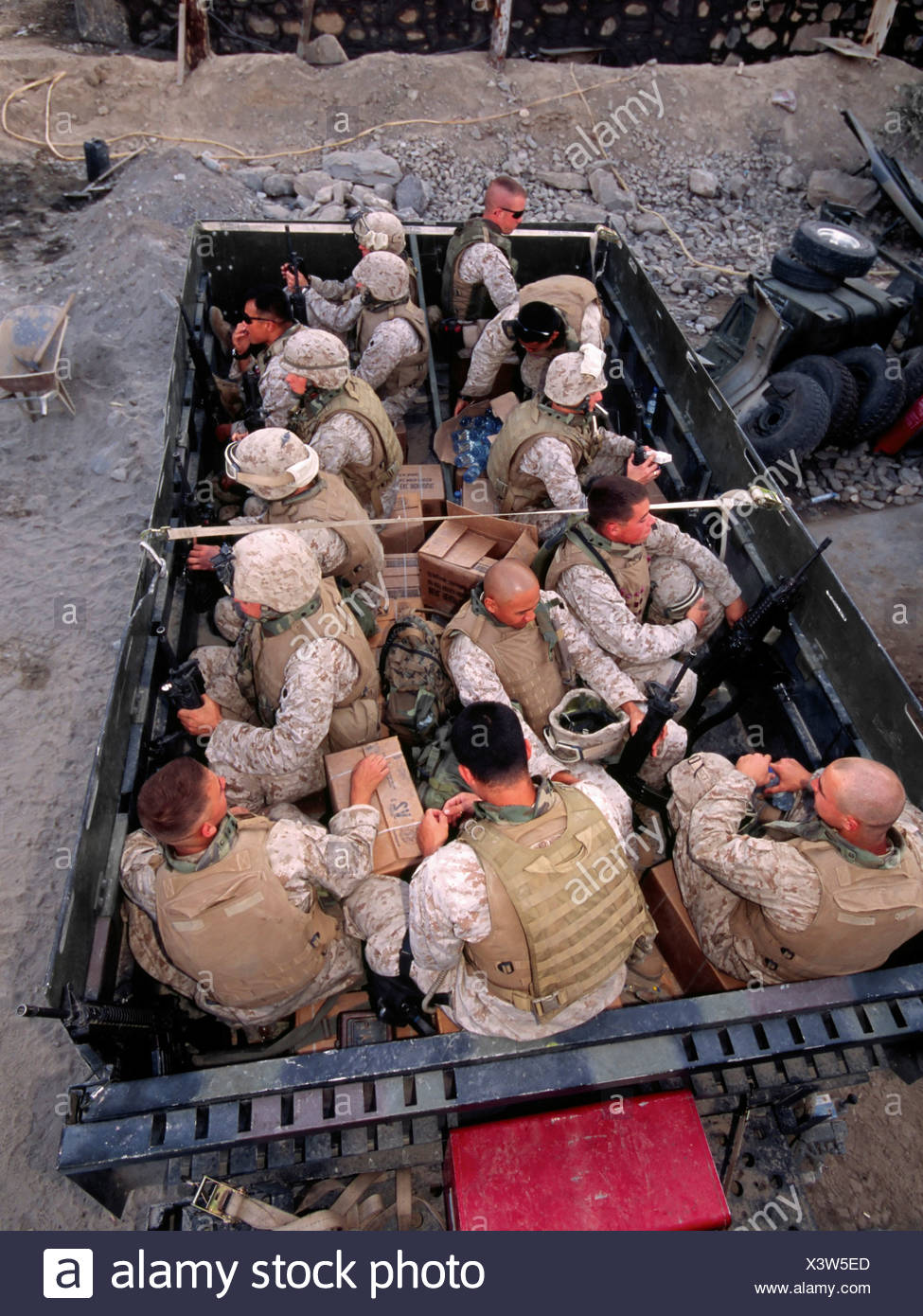 US Marines Loaded into a Large Troop Transport Before Embarking on a Combat Operation in Afghanistan's Eastern Kunar Province - Stock Image