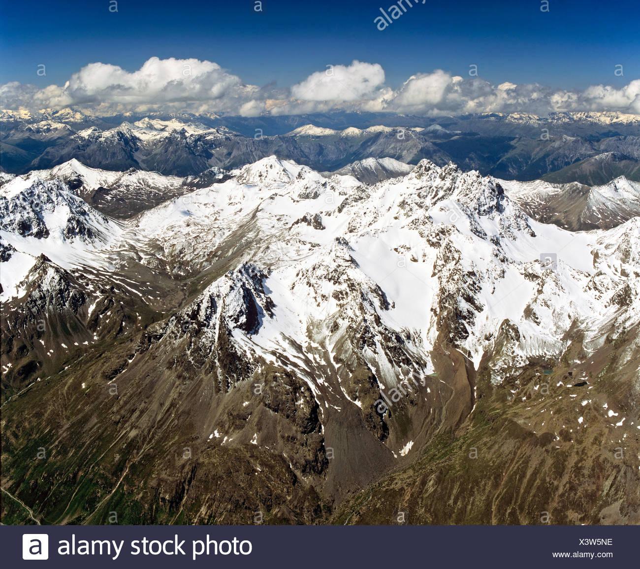 Dreilaenderspitze, left hand Fluchthorn, Silvretta, Tyrol, Austria - Stock Image