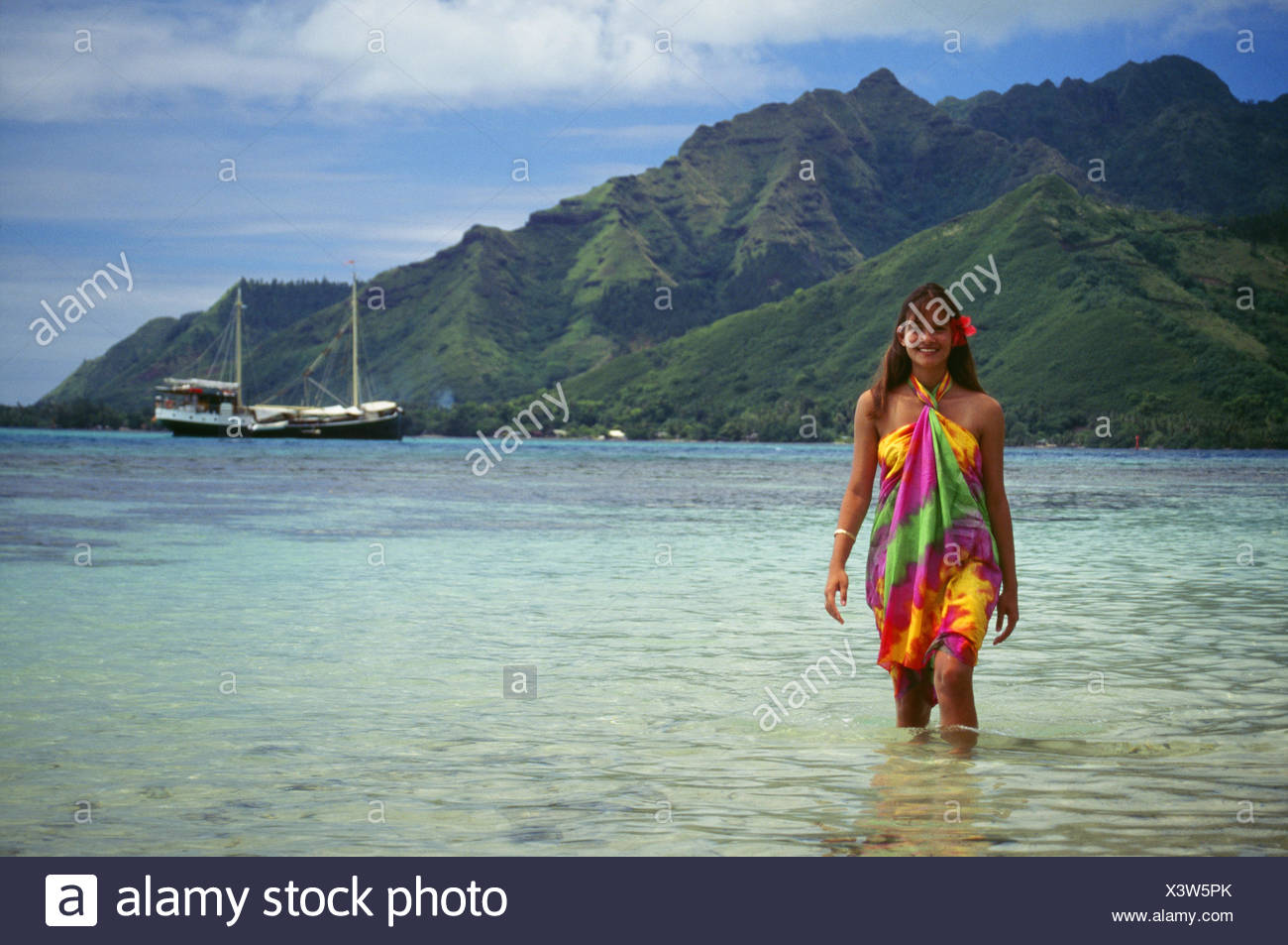 French Polynesia Tahiti Moorea Smiling Young Woman Walks