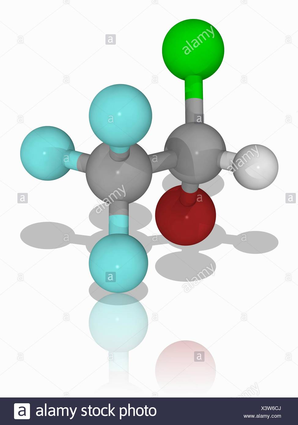 Halothane. Molecular model of the anaesthetic drug halothane (C2.H.Br.Cl.F3). This general anaesthetic is delivered by inhalation. It is also knowns as Fluothane. Atoms are represented as spheres and are colour-coded: carbon (grey), hydrogen (white), fluorine (cyan), bromine (brown) and chlorine (green). Illustration. - Stock Image
