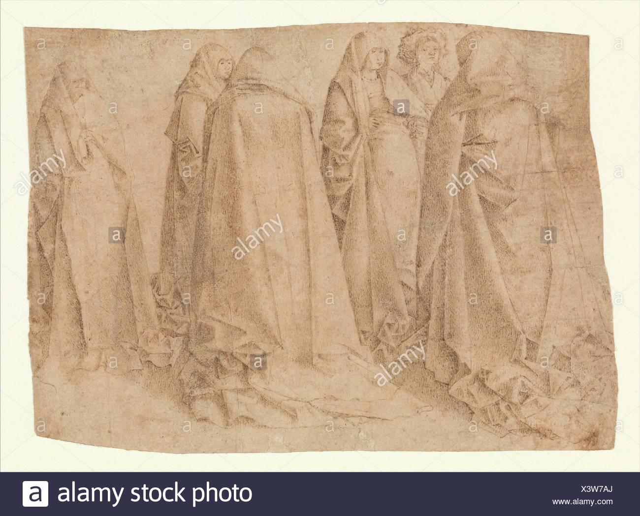 Group of Draped Figures. Artist: Attributed to Antonello da Messina (Antonello di Giovanni d'Antonio) (Italian, Messina ca. 1430-1479 Messina); Date: - Stock Image