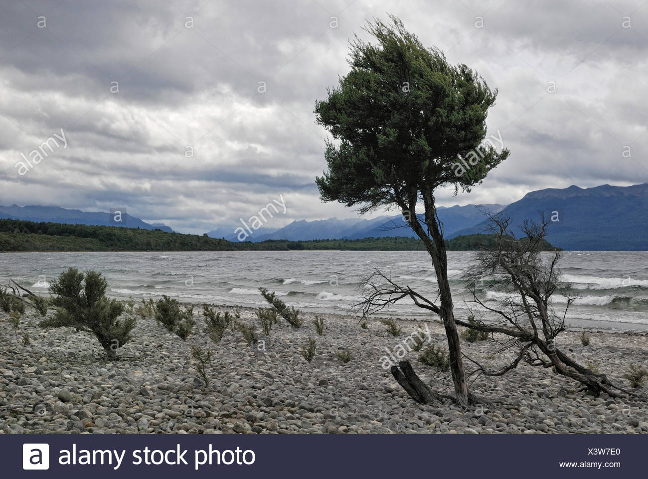 Change In The Weather Rocky Eastern Shore Of Lake Te Anau