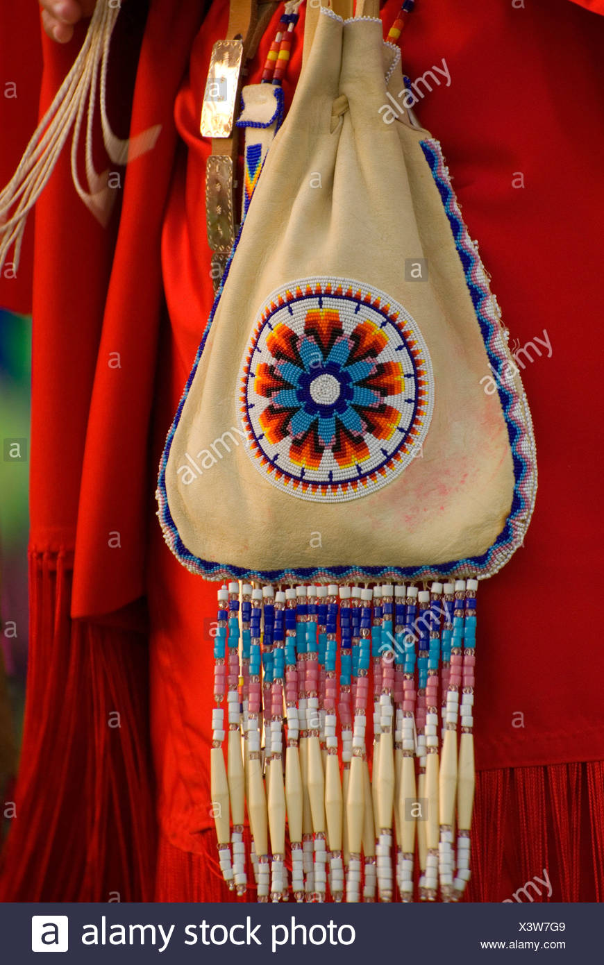 Native American beaded purse, Pi-Ume-Sha Treaty Days, Warm Springs Indian Reservation, OR - Stock Image