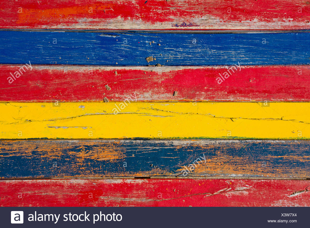 Colourful screen of boards - Stock Image