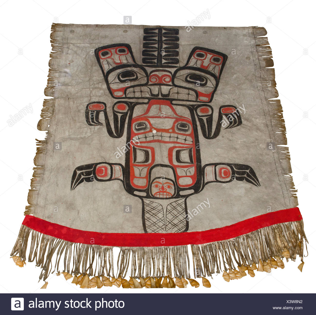 Painted apron with beaver crest and puffin bills Haida or Tsimshian British Columbia Canada early 19th C - Stock Image