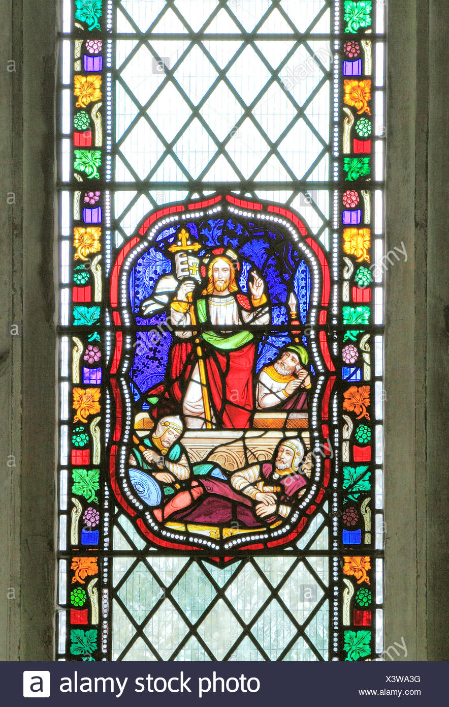 The Resurrection of Jesus Christ, Roman guards, stained glass window, 1860, Fakenham, Norfolk, England UK, Victorian - Stock Image