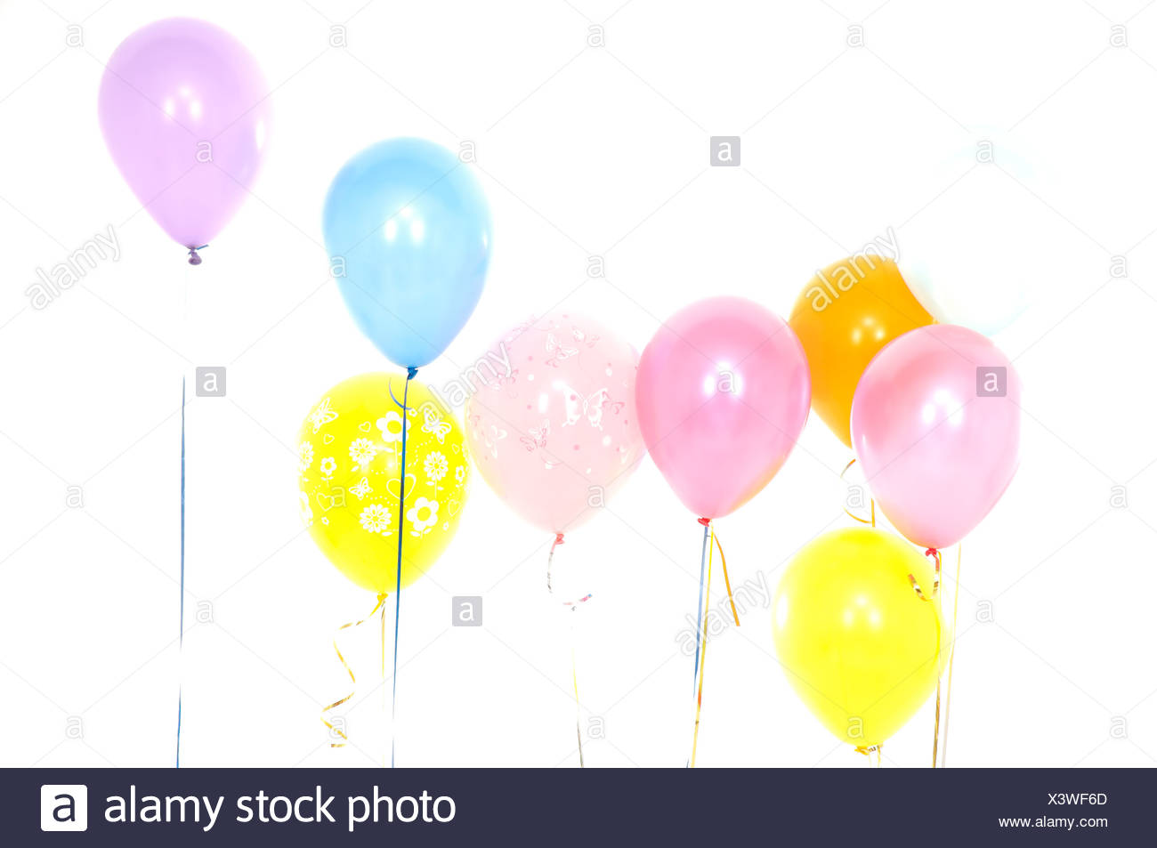 Colorful balloons in a birthday party - Stock Image