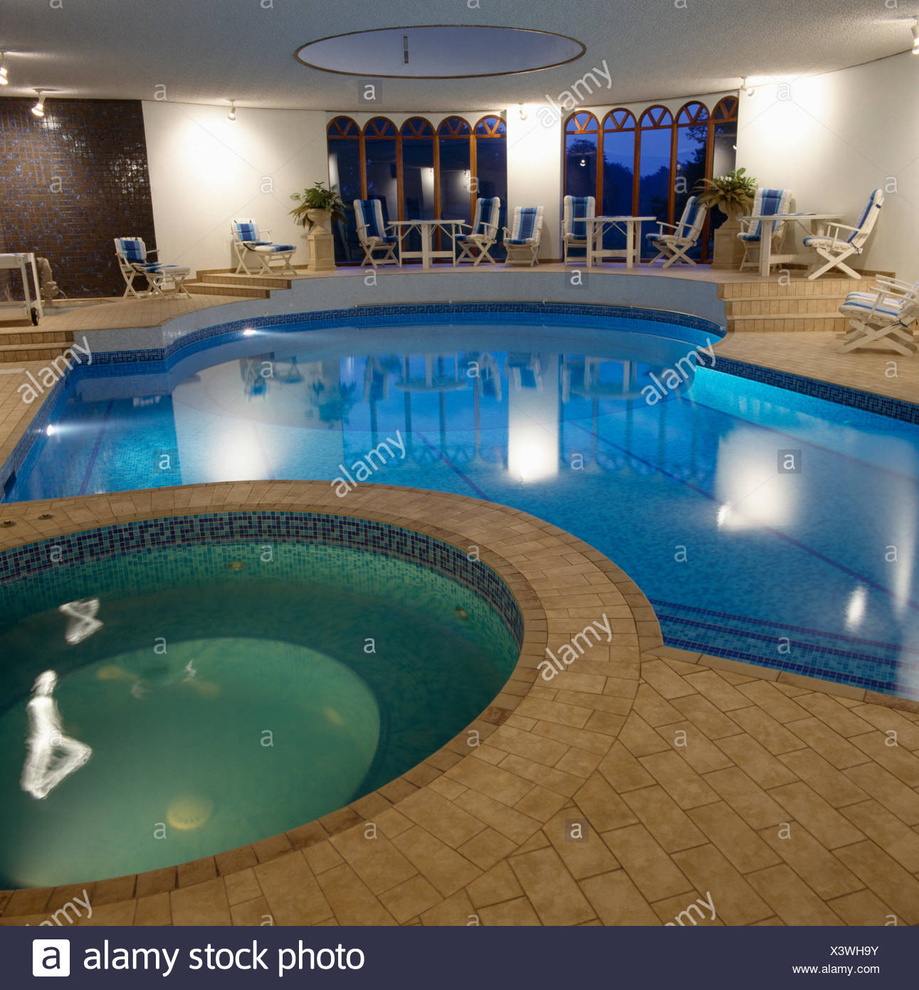 Eighties Private Indoor Swimming Pool With A Jacuzzi Tub Stock Photo Alamy