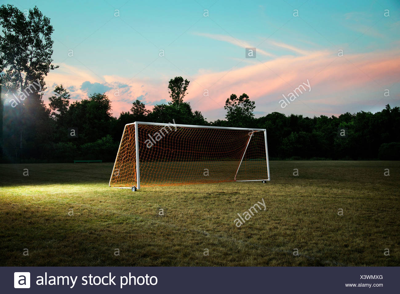 Empty goal on soccer pitch - Stock Image