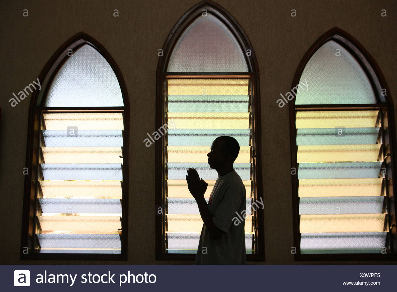 Prayer in church Lome. Togo.africa - Stock Image