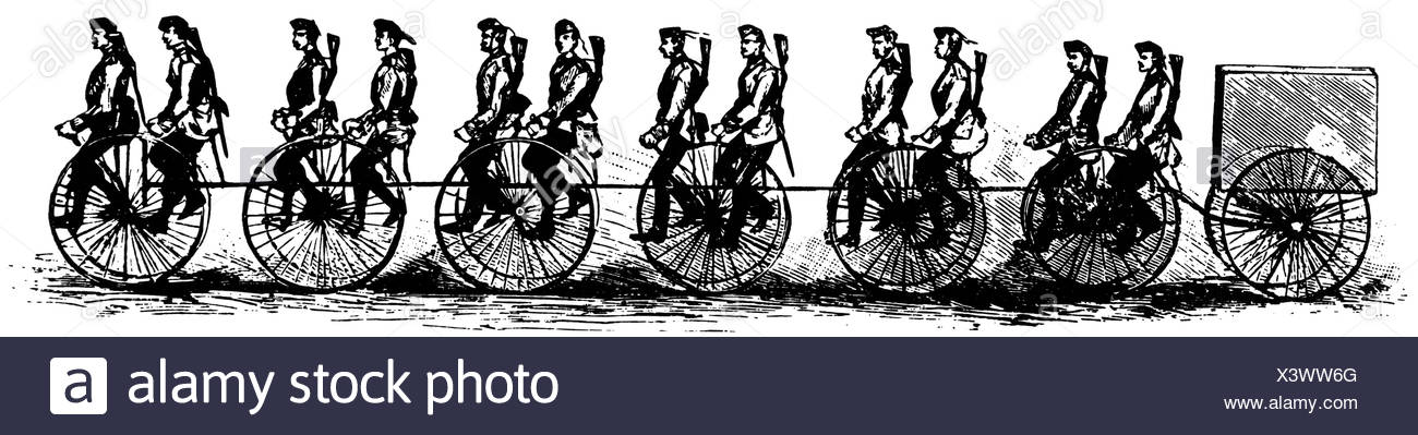 Cyclists in the British army, 1888 - Stock Image