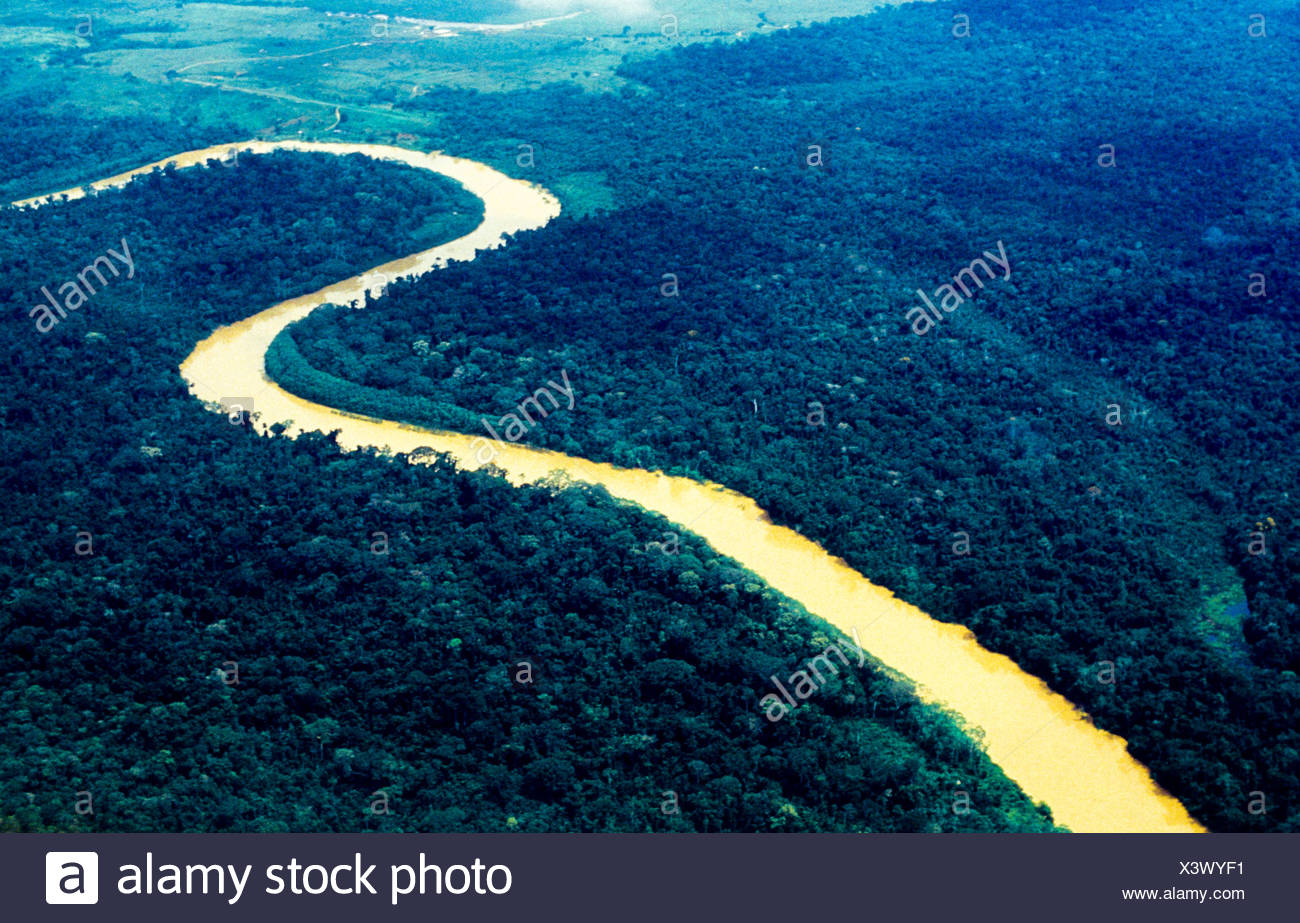 Aerial view of Amazon rain forest, river penetrating forest, Acre State, Brazil. - Stock Image