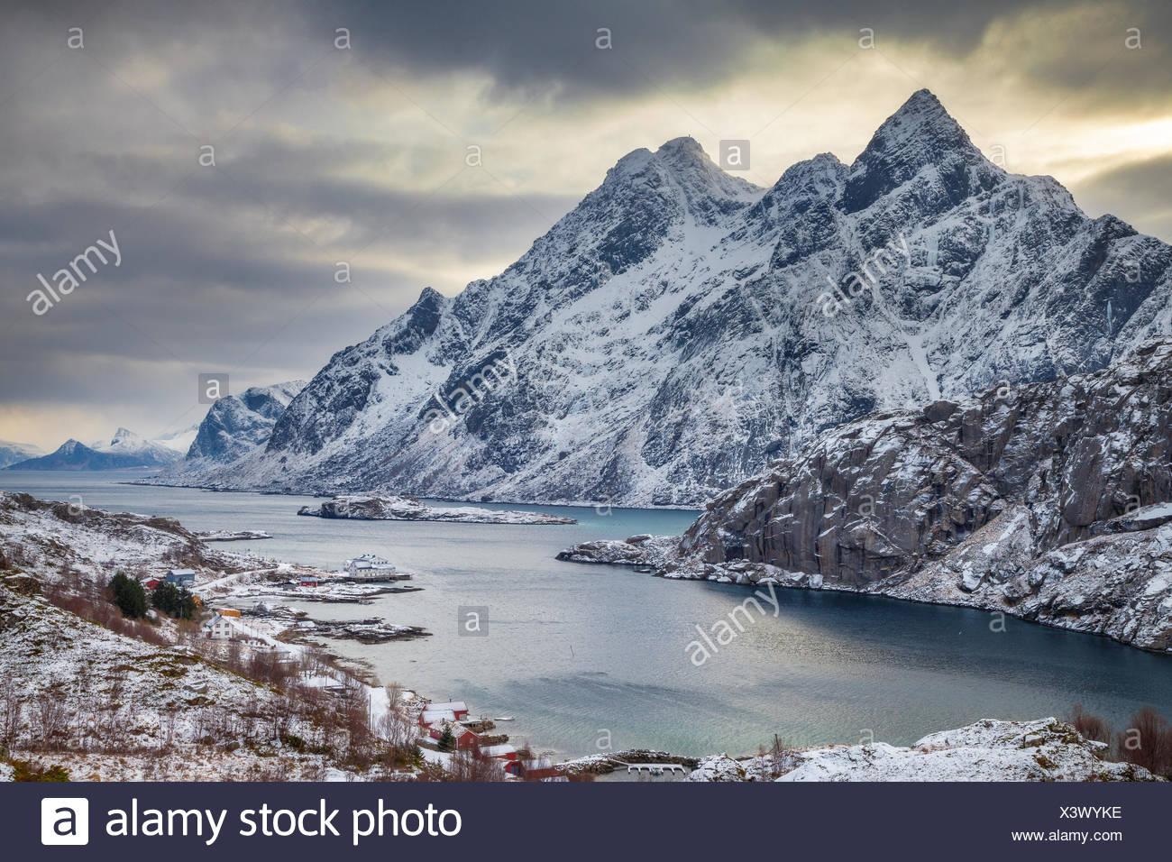 Norway, Lofoten, Storm over fjord in Vestvagoy - Stock Image