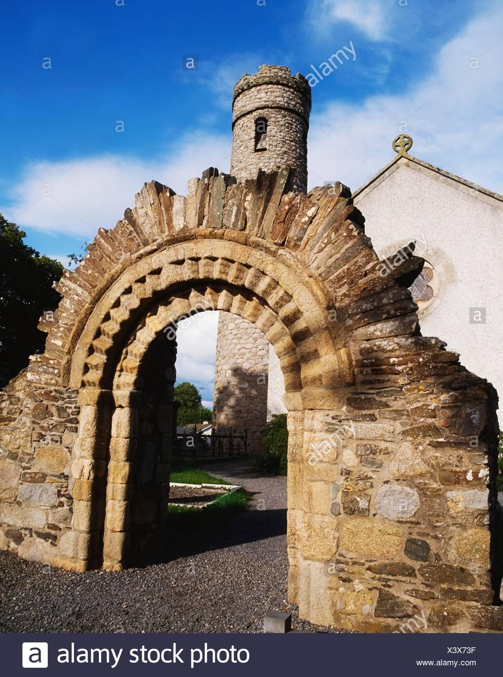 Castledermot, Co Kildare, Ireland; Reconstructed Romanesque Doorway - Stock Image