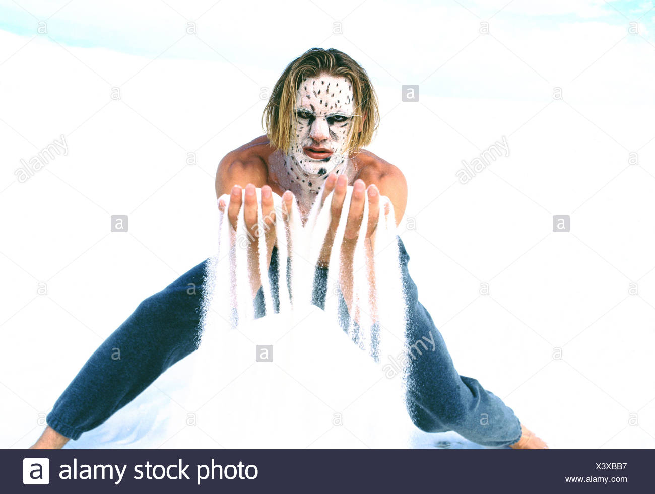 Leopard man with facial - Stock Image