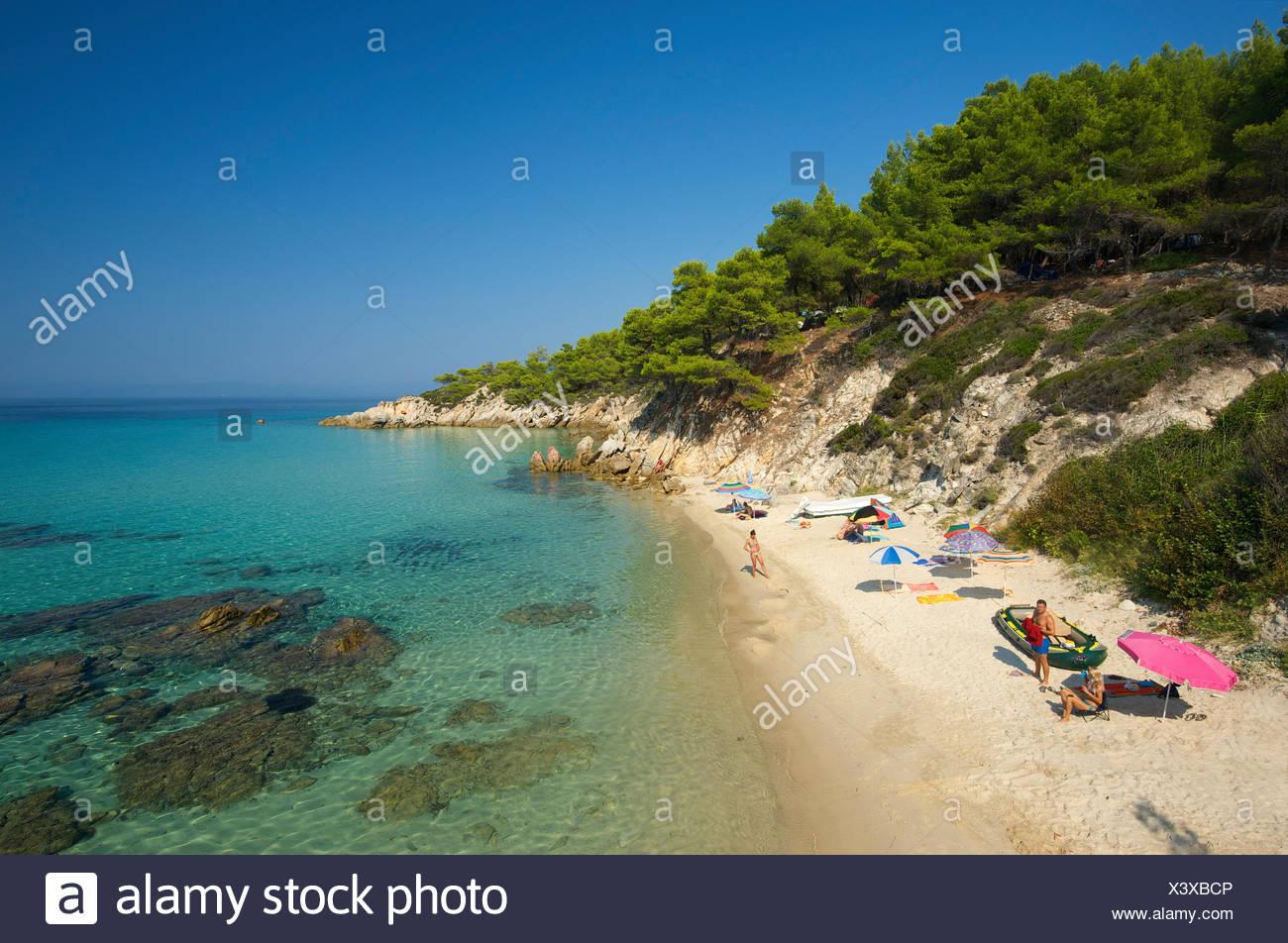 Kavourotypes beach on Sithonia, Chalkidiki or Halkidiki, Greece, Europe Stock Photo