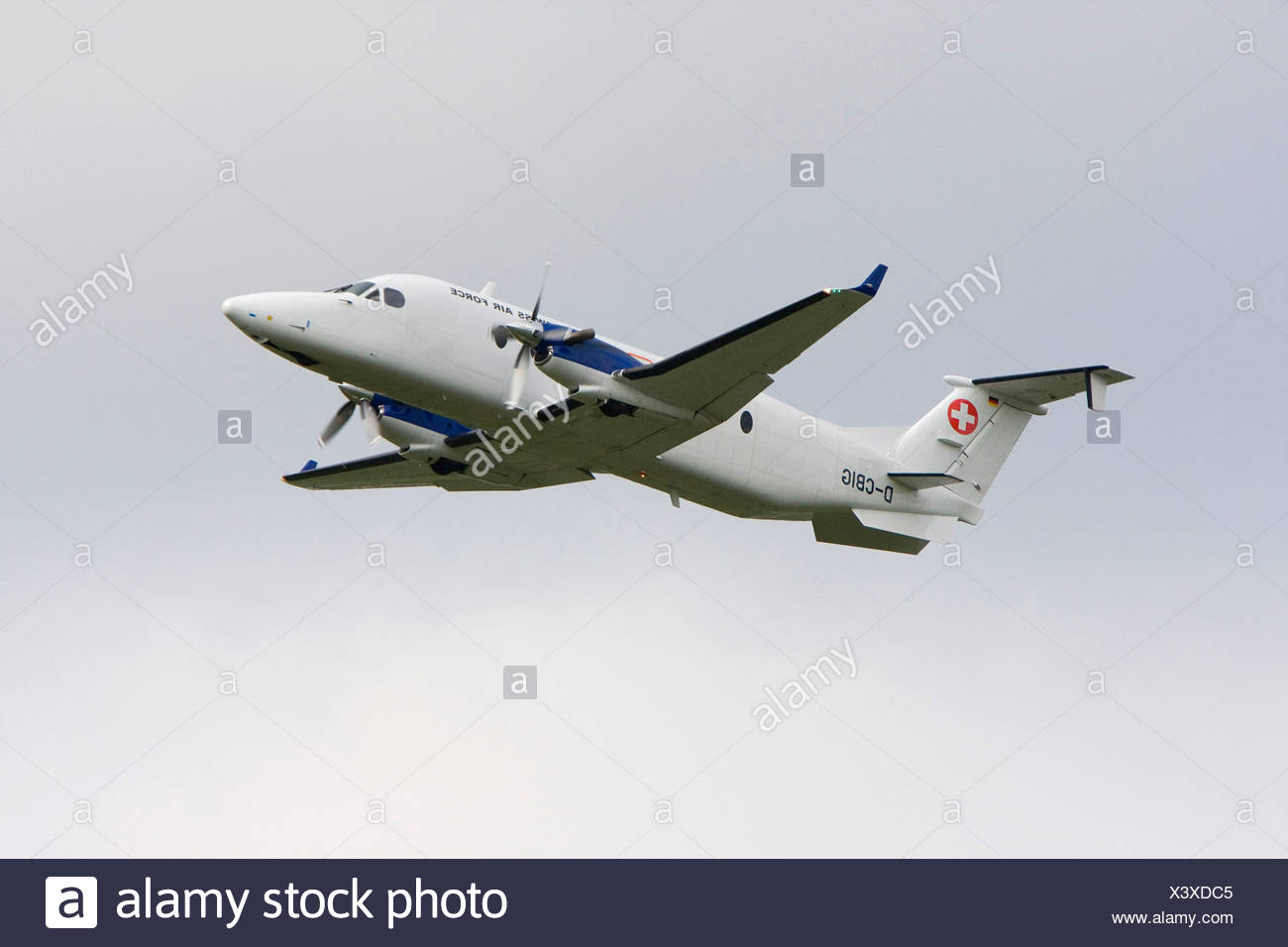 Air Force Beech 1900D during the Eurofigher Evaluation, Emmen, Luzern, Switzerland - Stock Image