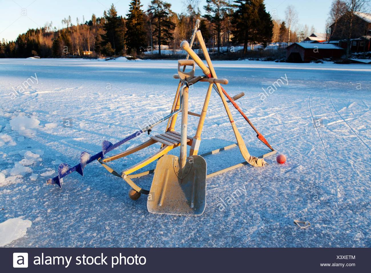 Winter tools Northern Sweden. - Stock Image