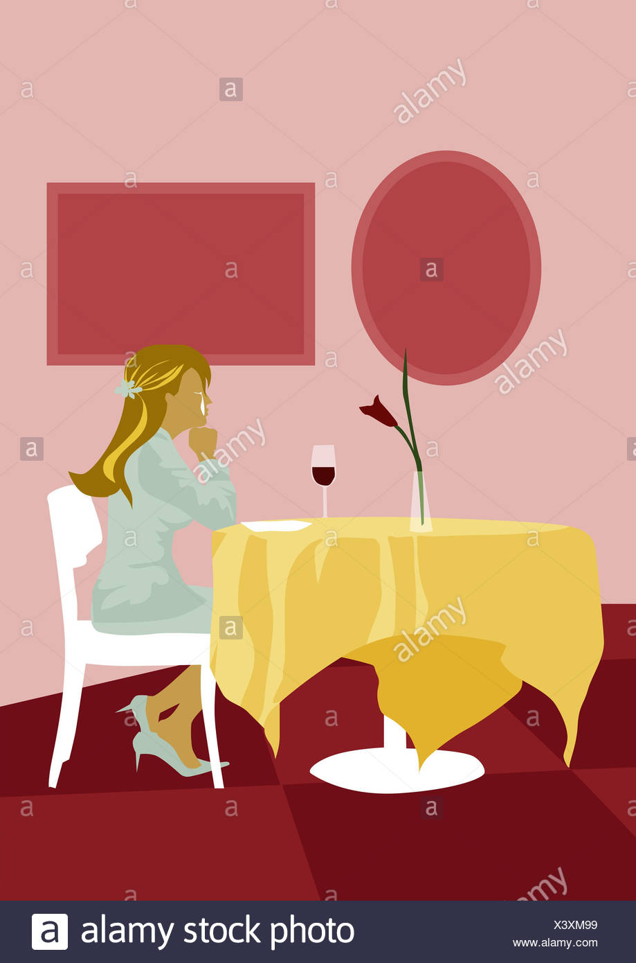 Illustration woman young cries table sitting alone lateral blond long-haired pub restaurant indoors secluded separated howlings - Stock Image