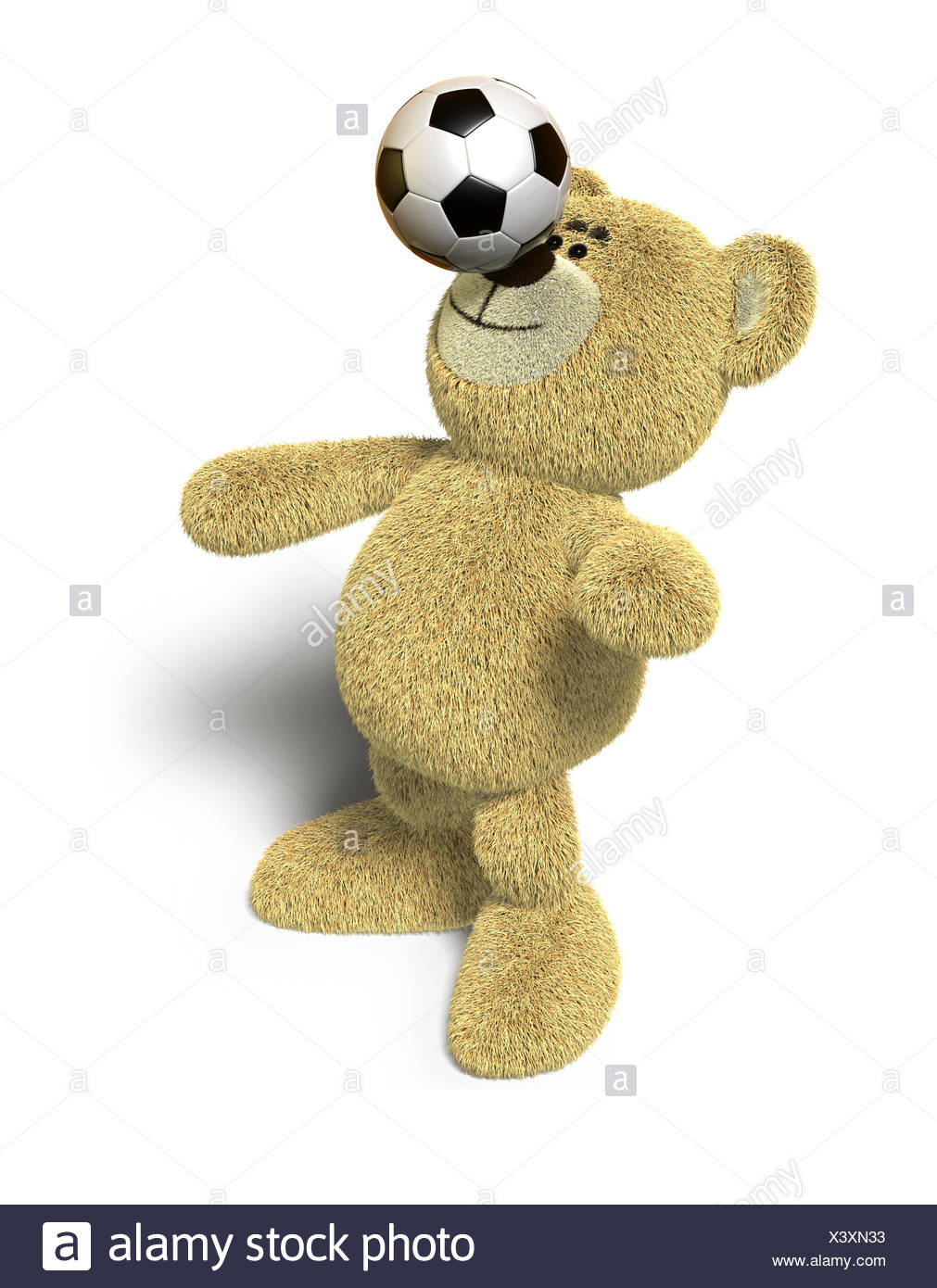 Nhi Bear balances soccer ball on nose - Stock Image
