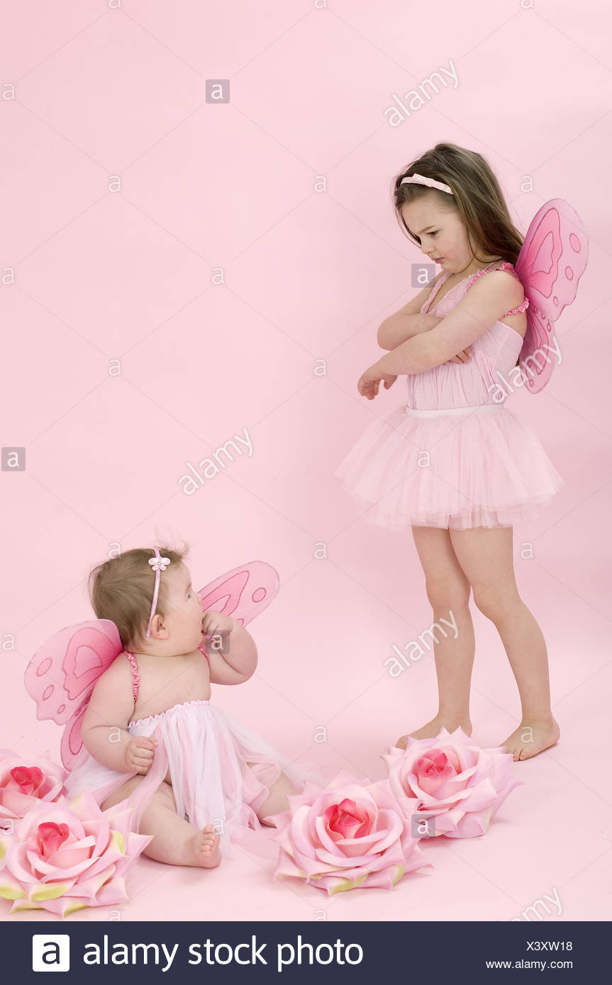 Girls, two, disguise, fairy, - Stock Image