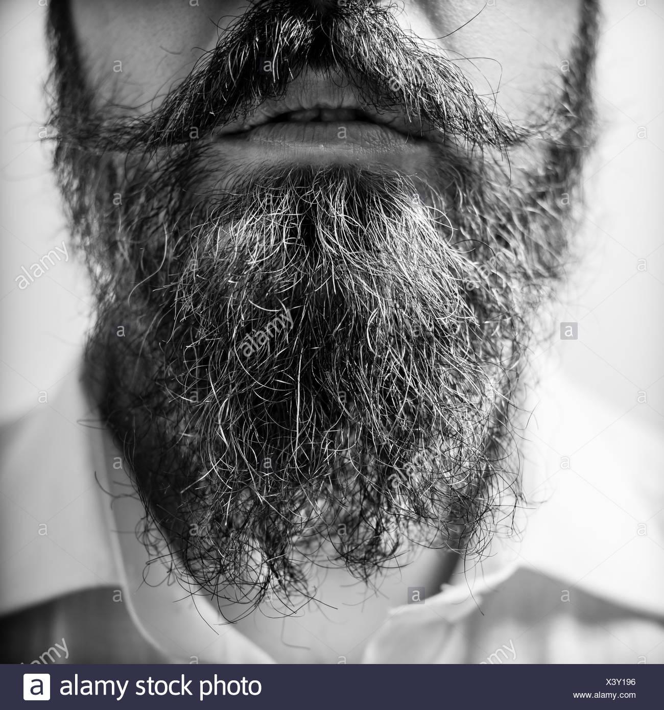 Close up of long beard and mustache man - Stock Image