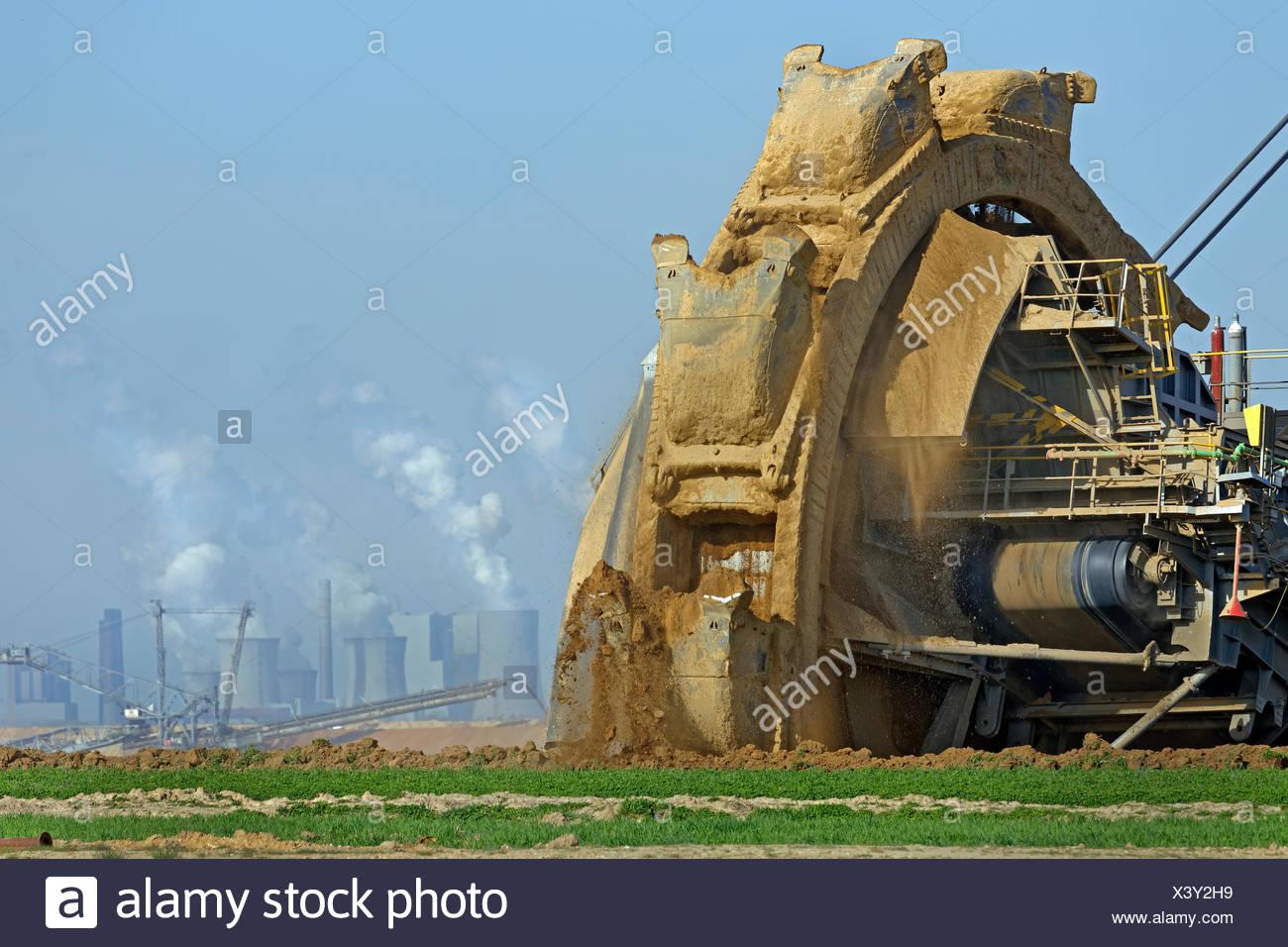 Bucket wheel excavator, lignite opencast mine Garzweiler, North Rhine-Westphalia, Germany Stock Photo
