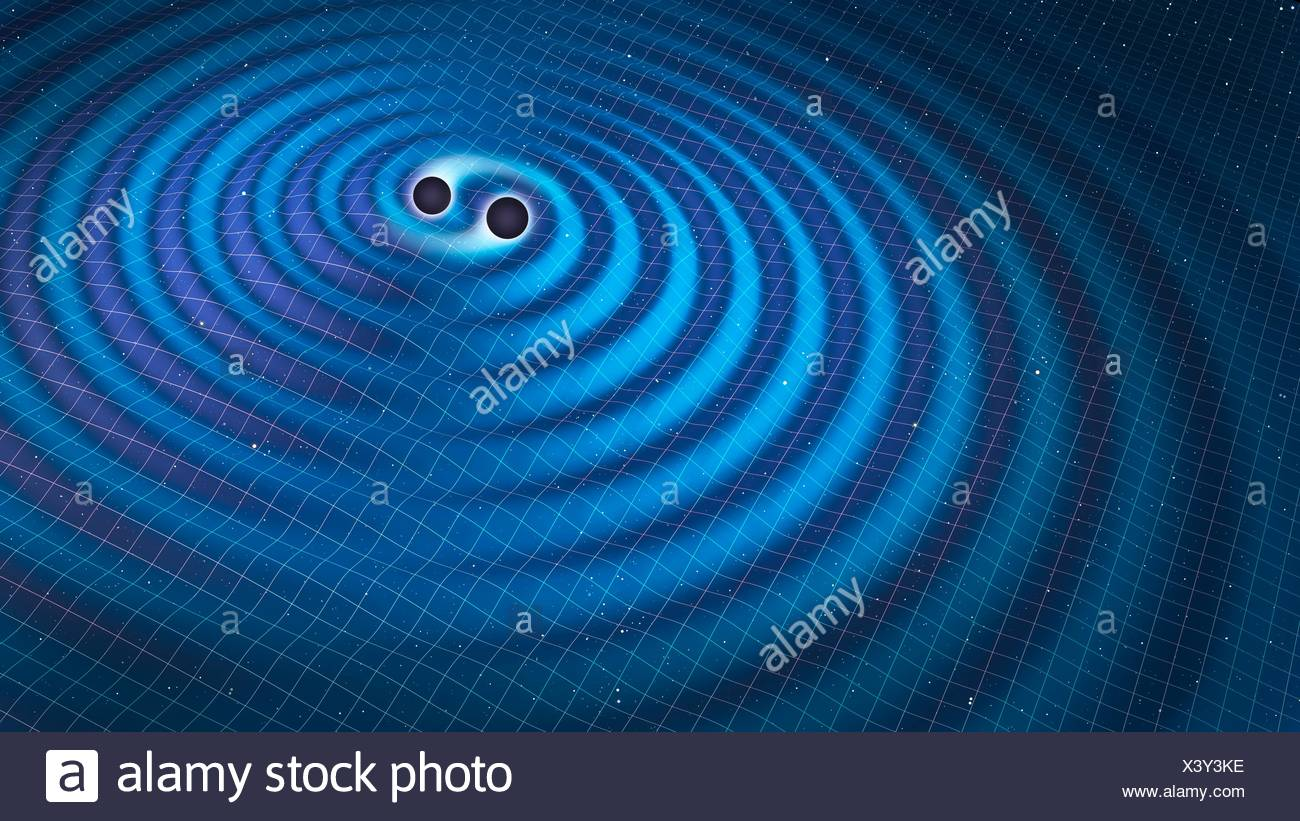 Gravitational waves. Illustration of two black holes orbiting each other, emitting gravitational waves. Gravitational waves are a prediction of Einstein's theory of general relativity. Gravity is the distortion of spacetime by mass, and changes in this di - Stock Image