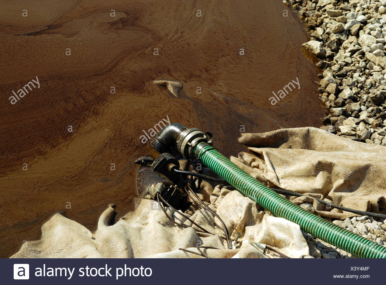 Heating oil floating on ground water, environmental cleanup operation, Baden-Wuerttemberg, Germany - Stock Image