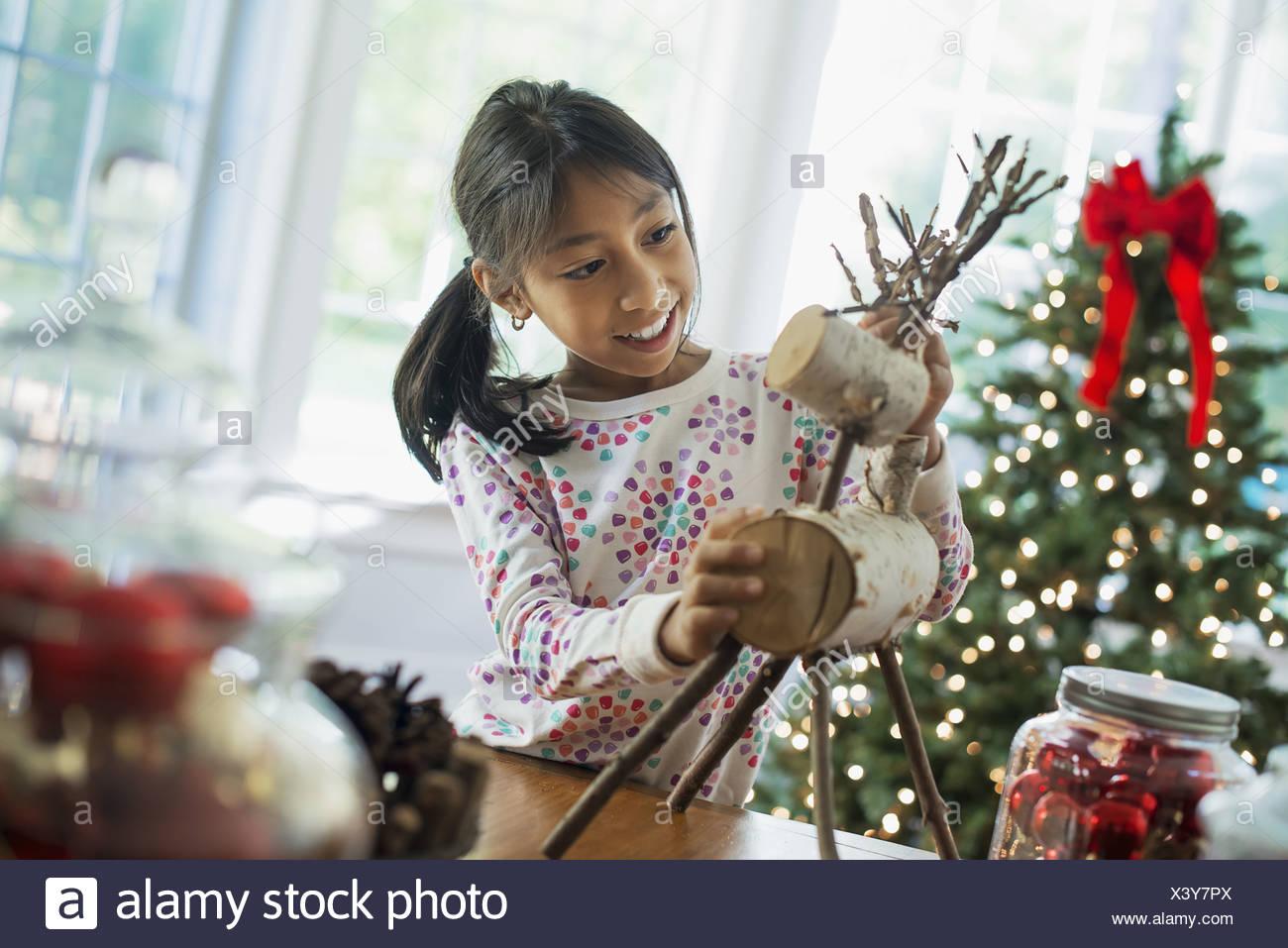 Woodstock New York USA twig figure reindeer making Christmas decorations - Stock Image