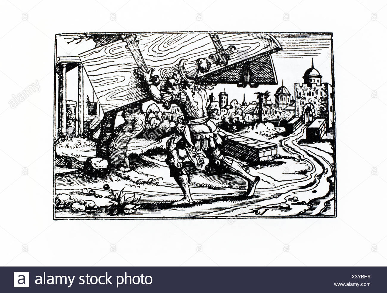 Samson carrying the gates of Gaza. German Bible. Frankfurt, 1570. - Stock Image
