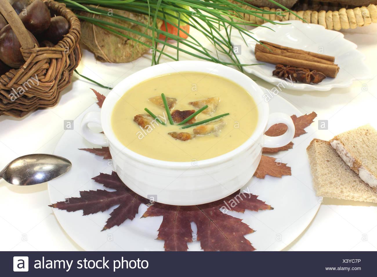 frische Maronensuppe mit Zimt vor hellem Hintergrund - Stock Image