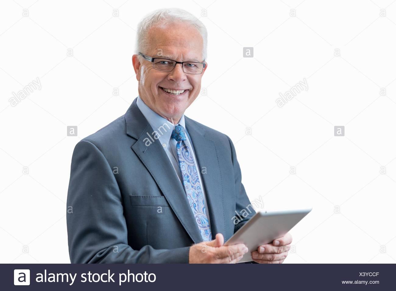 Senior man with digital tablet. - Stock Image
